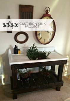 I love a salvaged antique cast iron sink. This is the story of our salvaged antique cast iron sink project! Decor, Outdoor Sinks, Farmhouse Sink, Cast Iron Sink, Primitive Bathrooms, Potting Table, Vintage Sink, Sink, Farmers Sink