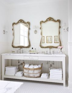 Dreaming of decorating your bathroom in a French country cottage style? Double up on bathroom mirrors to get some symmetry into your design. French Country Cottage, French Country Decorating, French Country Bathroom Ideas, French Bathroom, Cottage Decorating, Rustic French, Cottage Farmhouse, French Farmhouse, Rustic Chic