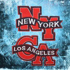 NY New York CA Los Angeles patches iron on monogram punk patches iron on patches