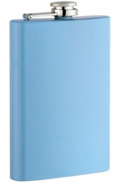 New Light Blue Powder Coated 8 oz Stainless Steel Liquor Flask & Filling Funnel