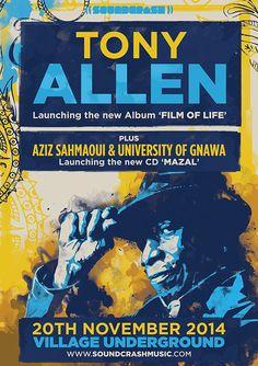 Poster design for ex Fela Kuti drummer Tony Allen's concert at Village Underground in London