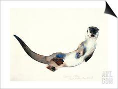 Curious Otter, 2003 SwitchArt™ Print by Mark Adlington at Art.com