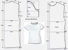 Hasil gambar untuk modelo y patron de camisetas Dress Sewing Patterns, Sewing Patterns Free, Clothing Patterns, Techniques Couture, Sewing Techniques, Free Clothes, Diy Clothes, Patron T Shirt, Sewing Blouses