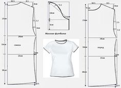 Hasil gambar untuk modelo y patron de camisetas T Shirt Sewing Pattern, Pattern Drafting, Dress Sewing Patterns, Sewing Patterns Free, Clothing Patterns, Free Clothes, Diy Clothes, Patron T Shirt, Sewing Blouses