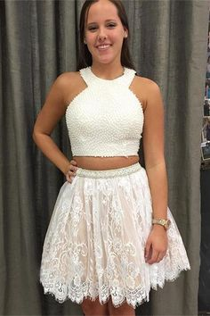 391a523cadf Pretty Two Pieces Lace Beaded Short A-line Cute Cheap Homecoming Dresses  Z0096