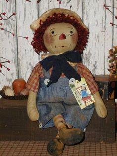 Old Primitive Dolls | Primitive Olde Folk Art Raggedy Andy Doll*Handcrafted*Prim* Vintage ...