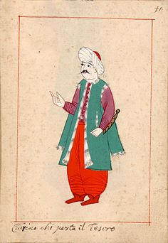 """Treasure-carrier  """"Cairino chi porta il Tesoro""""   Hazinedar = """"Treasurer"""". The 'Rålamb Costume Book' is a small volume containing 121 miniatures in Indian ink with gouache and some gilding, displaying Turkish officials, occupations and folk types. They were acquired in Constantinople in 1657-58 by Claes Rålamb who led a Swedish embassy to the Sublime Porte, and arrived in the Swedish Royal Library / Manuscript Department in 1886."""