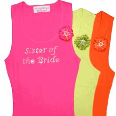Rhinestone Bride Tank Tops - Rhinestone Bridesmaid Tank Tops with Beaded Flower Pin - Wedding T-Shirts For The Entire Bridal Party