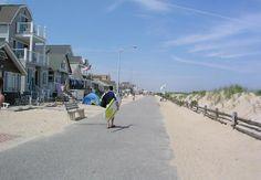 Manasquan's boardwalk, a macadam walkway between the beach & beachfront homes. New Jersey Beaches, Nj Beaches, Nj Shore, Seaside Heights, Beach Haven, Beach Activities, Nyc Skyline, Long Beach Island, Great Places