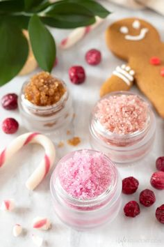 Learn how to make the best DIY lip scrub recipes for the holiday season! Exfoliate and moisturize dry, flaky lips with delicious winter flavours. This simple tutorial includes recipes for peppermint candy cane, gingerbread, cranberry and spiced orange. Make these edible Christmas lip scrubs in minutes with natural ingredients like sugar and liquid coconut oil. #lipscrub #alifeadjacent #sugarscrub Sugar Scrub Homemade, Homemade Lip Balm, Sugar Scrub Recipe, Homemade Facials, The Body Shop, Lip Scrubs, Sugar Scrubs, Body Scrubs, Salt Scrubs