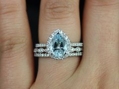 Tabitha 9x7mm & Christie 14kt White Gold Pear Aquamarine and Diamonds Halo TRIO Wedding Set (Other metals and stone options available) by RosadosBox on Etsy https://www.etsy.com/listing/173589869/tabitha-9x7mm-christie-14kt-white-gold