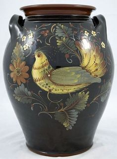 12 Inch Redware Crock with Bird on Black - Early American Life - Award Winner).