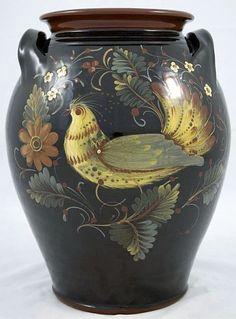 12 Inch Redware Crock with Bird on Black - Early American Life - Award Winner).