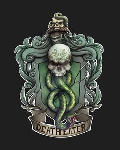 Slytherin by NikiVandermosten on DeviantArt Harry Potter Death, Slytherin Harry Potter, Harry Potter Tattoos, Harry Potter Universal, Harry Potter Characters, Slytherin House, Hogwarts Houses, Ravenclaw, Lestrange Harry Potter