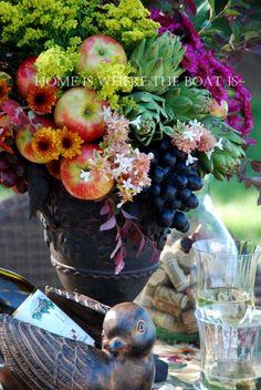 Harvest Decor: Grape Expectations Floral and Fruit Arrangement Fall Floral Arrangements, Edible Arrangements, Beautiful Flower Arrangements, Beautiful Flowers, Fruit Cake Watermelon, Fruit Cakes, Kitchen Arrangement, Bbq Pitmasters, Harvest Party
