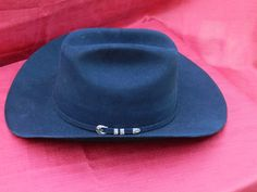 Vintage Stetson 6 X Fur Felt Cowboy Hat with Unusual 4 Piece Hatband Buckle  in Gold cbc80cdab700