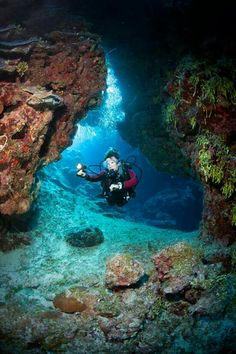 Caves are being explored under the Caribbean Sea, during a summer storm occurring above/