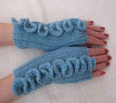 Hand Knitt Women Fingerless Mittens with Crochet by evefashion, £18.00