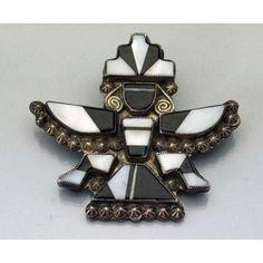 RARE Vintage Zuni Inlay BLACK & WHITE Inlay Knifewing Silver Pin