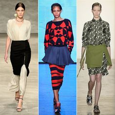 This season, the runways took hold of a styling technique that was first seen on street style pros on and off for years. Designers from Peter Som to Donna Karan are officially giving new purpose to the skirt and having it function as an apron of sorts. From minis to pencils, when layered on top of oversize poplin shirts, accordion dresses, and pants, it creates a whole new look that will surely reinvigorate Spring wardrobes.
