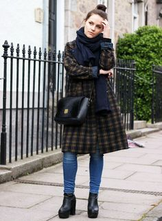 plaid coat with jeans