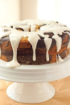 Chocolate Pumpkin Marble Cake with Cream Cheese Glaze