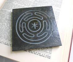 HEKATE ALTAR TILE - Hekate's Wheel - Carved Natural Slate Stone - Hot Plate Trivet Coaster. $8.00, via Etsy.