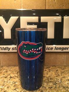 Custom YETI Rambler Tumblers and Bottles  in Candy Blue with Florida Gators Logo - Powder Coated