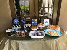 Our La La Land themed party! Chicken on a stick, croissants, black and white cookies, scones, madeleines, and cinnamon buns (remember that Mia works in a coffee shop so sweet treats are a must!) We made chicken nuggets on a stick for kids, and island grilled chicken on a stick for the adults! Delicious!