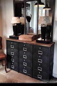 Meubles de rangement industriel métal bois Decor, Furniture, House Design, Office Storage, Bar Cabinet, Cabinet, Deco, Home Decor, Industrial Interiors