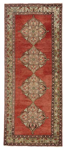 Vintage Turkish Oushak Runner with Traditional Style, Wide Hallway Runner | From a unique collection of antique and modern turkish rugs at https://www.1stdibs.com/furniture/rugs-carpets/turkish-rugs/