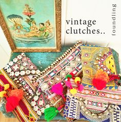 …Our new clutches - hand picked in the Delhi bazaar feature genuine vintage 'banjara' textiles - pompoms embroidered w gold & silver thread, adorned with hammered silver beads & mirror work.. The 'banjara' are the nomads or gypsies of Rajasthan famed for their colour & folk ornaments…each clutch is unique! www.foundling.com.au