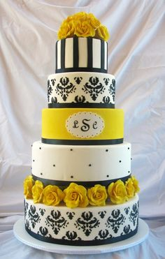 Black & Yellow Elegance - Just finished this dummy cake and headed to enter it into the local fair.  Got the inspiration from a few cakes here on cc.  Styrofoam rounds covered in fondant.  Damask was done in RI from a stencil I cut with my Cricut Cake.  Roses are handmade using a fondant/gumpaste mix.  TFL!
