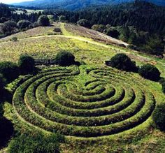 Cretan labyrinth earthwork located in Northern California, USA