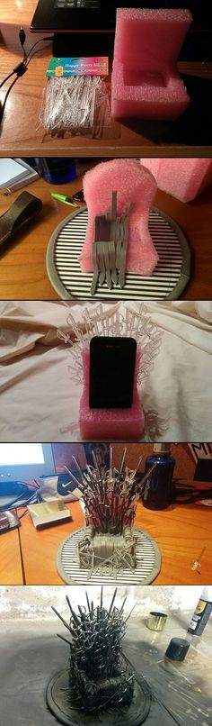 """If you tend to forget where you leave your phone, this girl has a perfect solution. Using sword-shaped sandwich picks, a sponge, some leather straps and black and metal spray paint, she created a wonderful """"Game Of Thrones""""-inspired phone stand."""