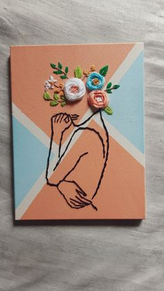 Cute Canvas Paintings, Small Canvas Art, Mini Canvas Art, Diy Canvas, Easy Canvas Art, Hand Embroidery Art, Diy Art, Art Drawings, Art Projects