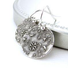Tiny Silver Earrings Silver Drop Earrings Sterling Silver Jewelry Unique Handmade Jewelry Modern Minimalist Flower Unique Petite by JenniferCasady on Etsy https://www.etsy.com/listing/74494188/tiny-silver-earrings-silver-drop