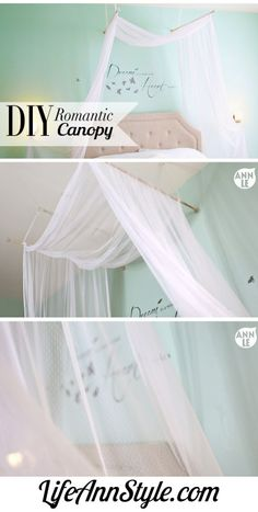 DIY Cheap and Easy Canopy Tutorial from Life Ann Style. Lace was used for this canopy but you could also use cheap light weight curtains etc…