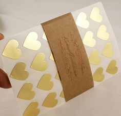108 Gold foil Mini Hearts Stickers  - 3/4 inch Valentines or Wedding Stickers - gift wrapping, envelope seals - FREE SHIPPING