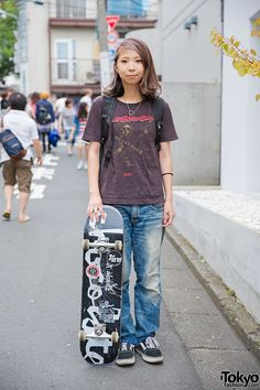 We spotted Chiba in Harajuku Skater Girl w/ wearing Japanese garage rock band Birthday Tee, Undercover & Vans TNT5 Sneakers Skater in The Birthday T-Shirt & RNA Jeans – Tokyo Fashion News