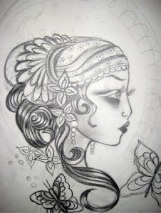Gypsy woman tattoo outline pinups-and-tattoos