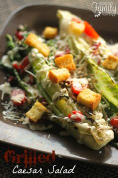 This Grilled Caesar Salad will change the way you eat this classic salad. Grilled romaine lettuce with cool Caesar dressing and savory toppings. The grilling really brings out an amazing flavor in the lettuce. Lettuce Recipes, Salad Recipes, Healthy Recipes, Grilled Romaine Lettuce, Great Recipes, Favorite Recipes, Classic Salad, Salad With Sweet Potato, Side Dish Recipes