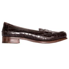 Prada Brown Crocodile Penny Loafers | From a collection of rare vintage shoes at https://www.1stdibs.com/fashion/accessories/shoes/