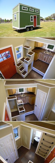 The Birchwood is a 16' tiny house that's light enough to tow with a 1500-series pickup truck. Equipped with full kitchen, bathroom, and two lofts.