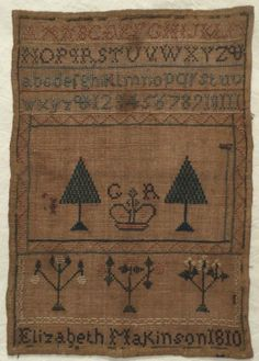 """Early 1th Century Linen Silk Sampler by Elizabeth Makinson 1810 