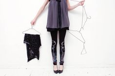 Black leggings with multicolor roe print by ZIBtextile on Etsy, $50.00