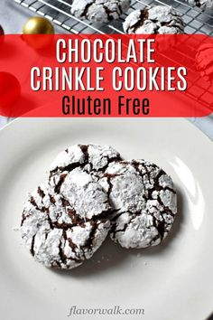 Gluten Free Chocolate Crinkle Cookies - Flavor Walk - Gluten Free Chocolate Crinkle Cookies These Gluten Free Chocolate Crinkle Cookies are delightfully rich and fudgy. A classic, must-bake, cookie for every chocolate lover! Best Gluten Free Cookies, Gluten Free Christmas Cookies, Gluten Free Cookie Recipes, Gluten Free Desserts, Baking Recipes, Chocolate Crinkle Cookies, Chocolate Crinkles, Cookie Flavors, Gluten Free Chocolate