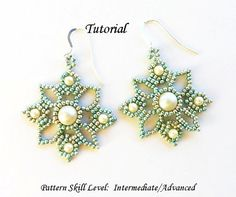 Beading pattern instructions - beadweaving tutorial beaded seed bead jewelry – beadwoven beadwork earrings - VENETIAN LACE