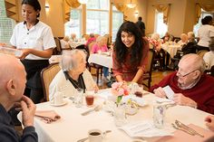 """The """"Spice Goddess"""" Bal Arneson talks with residents during a recent celebrity chef event."""