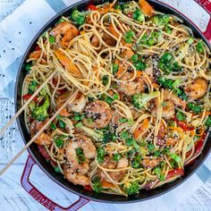 Asian Shrimp Stir Fry Noodles - - Stir-fry loaded with Shrimps and veggies. Ready in just about 30 minutes. Teriyaki Chicken, Teriyaki Stir Fry, Chicken Fajitas, Marinated Chicken, Fried Noodles Recipe, Stir Fry Noodles, Stir Fry Recipes, Noodle Recipes, Shrimp Recipes